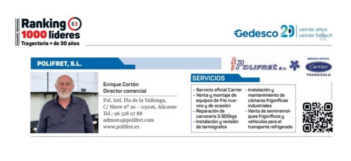 Polifret en el ranking de empresas españolas con una trayectoria de más de 30 años en la revista Economia 3